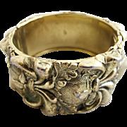 Vintage Whiting & Davis Tone Gold Tone Urn Wide Clamper Bracelet