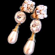 Vintage Wendy Gell Faux Pearl and Crystal Drop Earrings