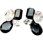 Wendy Gell Huge Black and Clear Crystal Clip Earrings