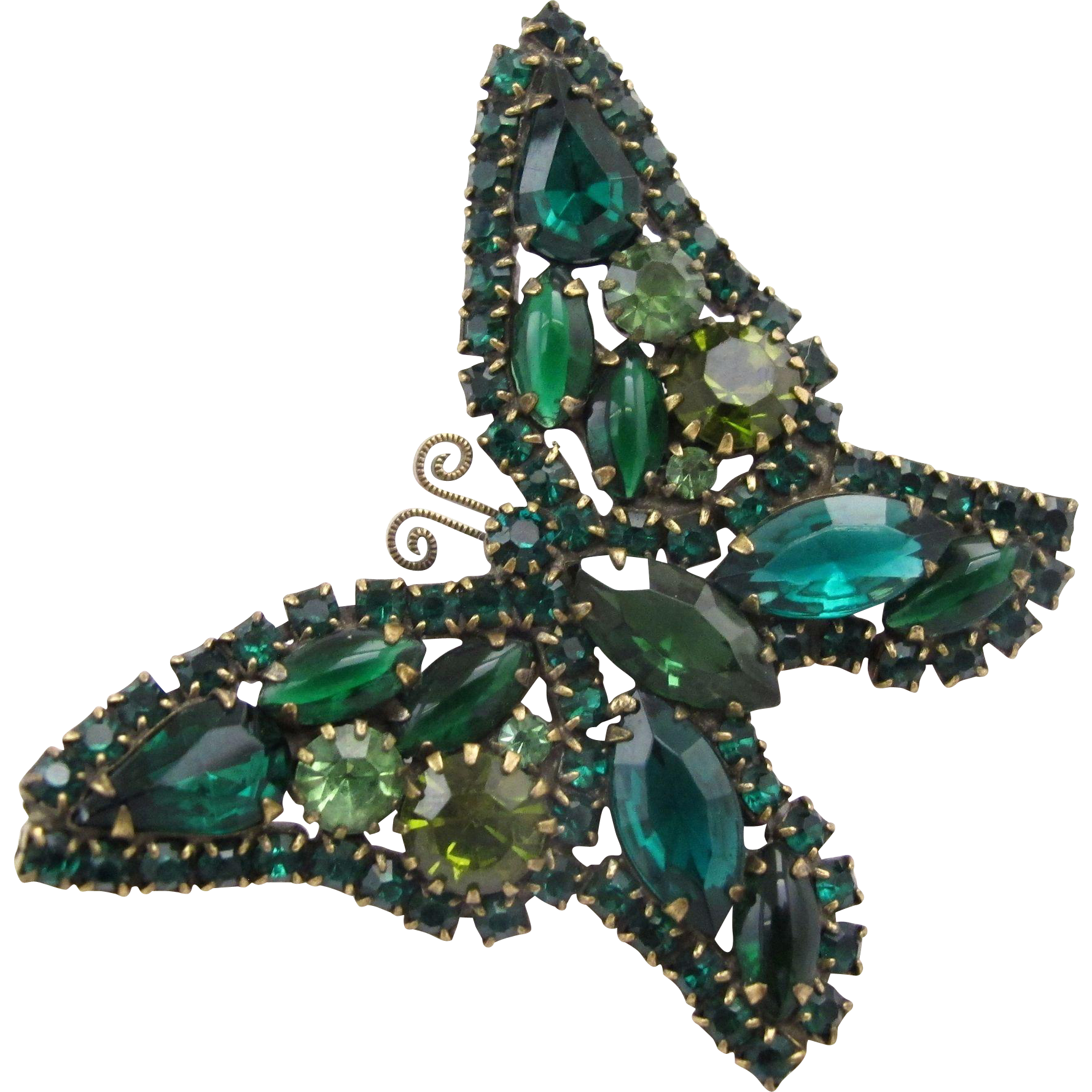 vintage unsigned weiss green butterfly brooch from. Black Bedroom Furniture Sets. Home Design Ideas