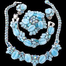 Weiss Rare Pastel Blue Glass Leaf Grand Parure