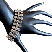 Weiss Clear Three Row Rhinestone Bracelet