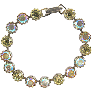 Weiss Yellow and Pink Aurora Borealis Rhinestone Bracelet