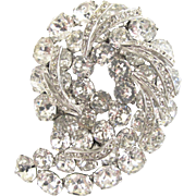 Vintage Weiss Large Clear Rhinestone Comma or Comet Brooch –