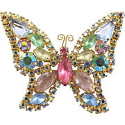 Vintage Signed Weiss Pastel Rhinestone Butterfly Brooch
