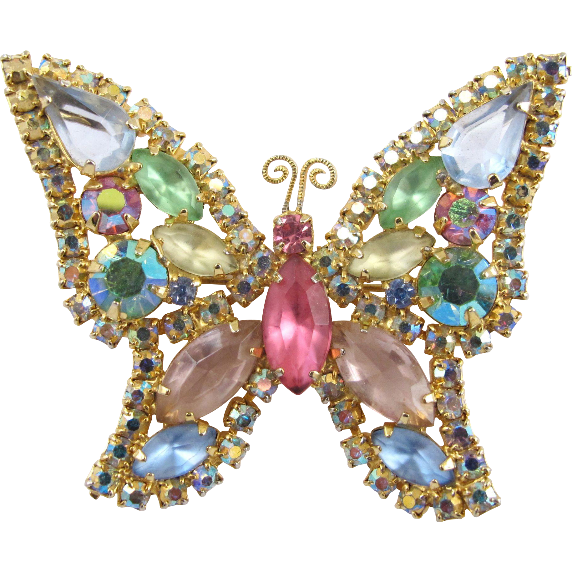Vintage Signed Weiss Pastel Rhinestone Butterfly Brooch