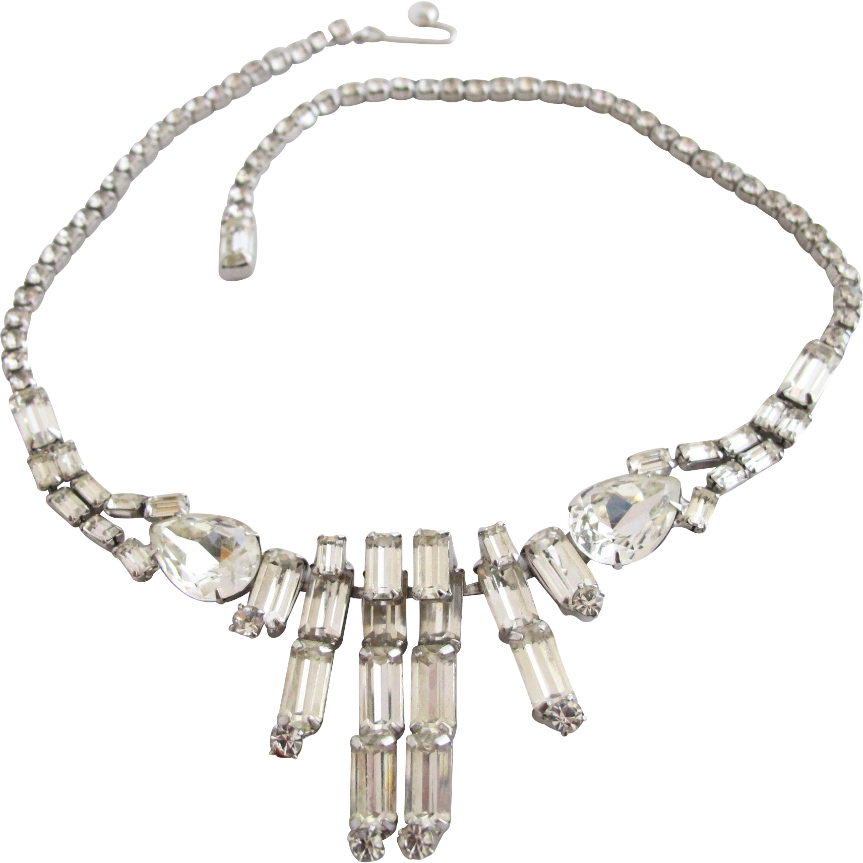 vintage weiss clear rhinestone necklace from. Black Bedroom Furniture Sets. Home Design Ideas