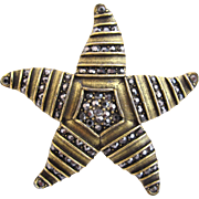 Weiss Rare Bronze Toned Starfish Combination Brooch Pendant
