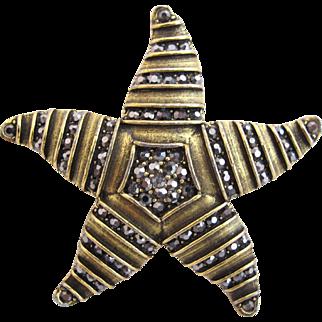 Weiss Rare Bronze Toned Starfish Combination Brooch Pendant