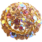 Vintage Weiss Round Pink Rhinestone Dome Brooch