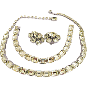 Vintage Weiss Pale Yellow Rhinestone Necklace Bracelet Earrings Set