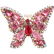 Vintage Weiss Pink Rhinestone Butterfly Pin