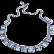 Vintage Weiss Rectangular Light Blue Rhinestone Choker Necklace