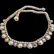 Vintage Weiss Aurora Borealis Rhinestone Choker Necklace
