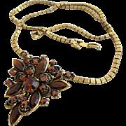 Vintage Weiss Brown Glass Rhinestone Flower Necklace