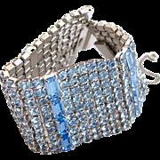 Vintage Weiss Wide Baby Blue Rhinestone Bracelet