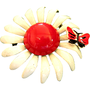 Weiss White Enamel Daisy with Butterfly Pin