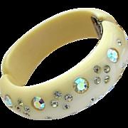 Signed WEISS Rhinestone Creamy Clamper Bracelet