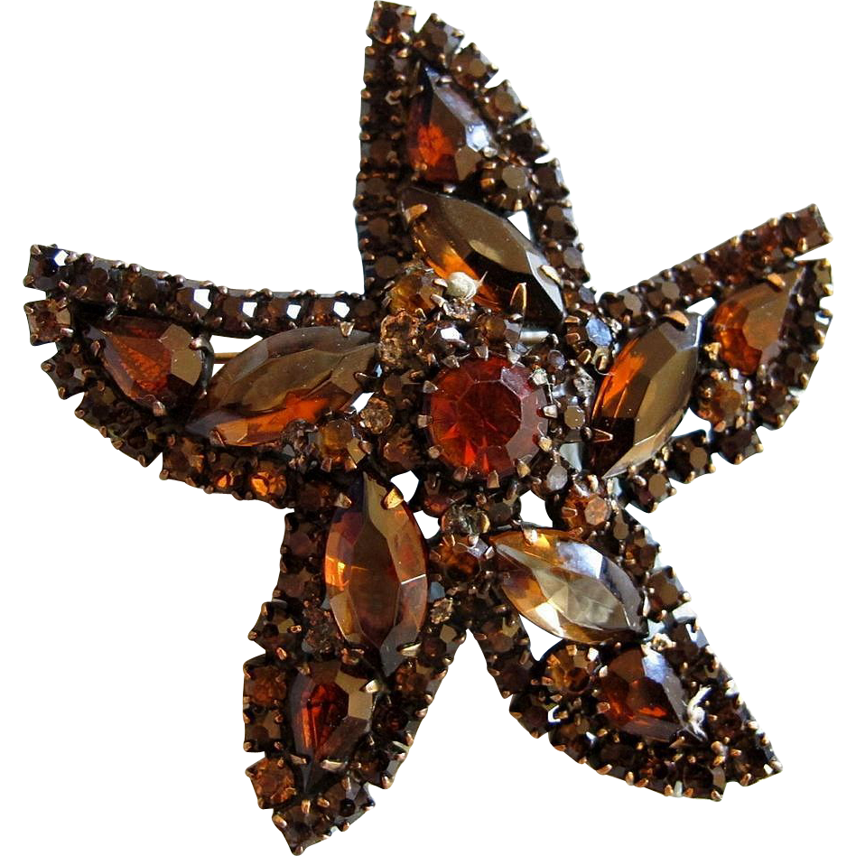 vintage weiss brown rhinestone starfish pin brooch. Black Bedroom Furniture Sets. Home Design Ideas