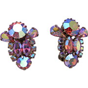 Weiss Pink Aurora Borealis Rhinestone Clip Earrings