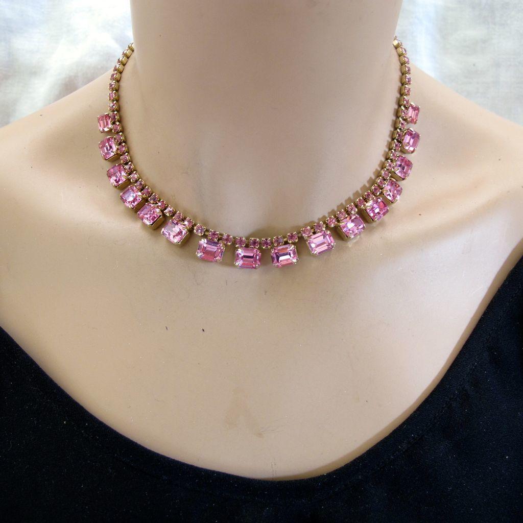 weiss pink rhinestone choker necklace from 2heartsjewelry