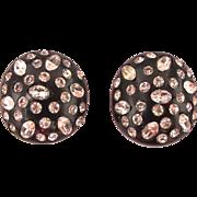 Weiss Black Thermoset Rhinestone Clip Earrings