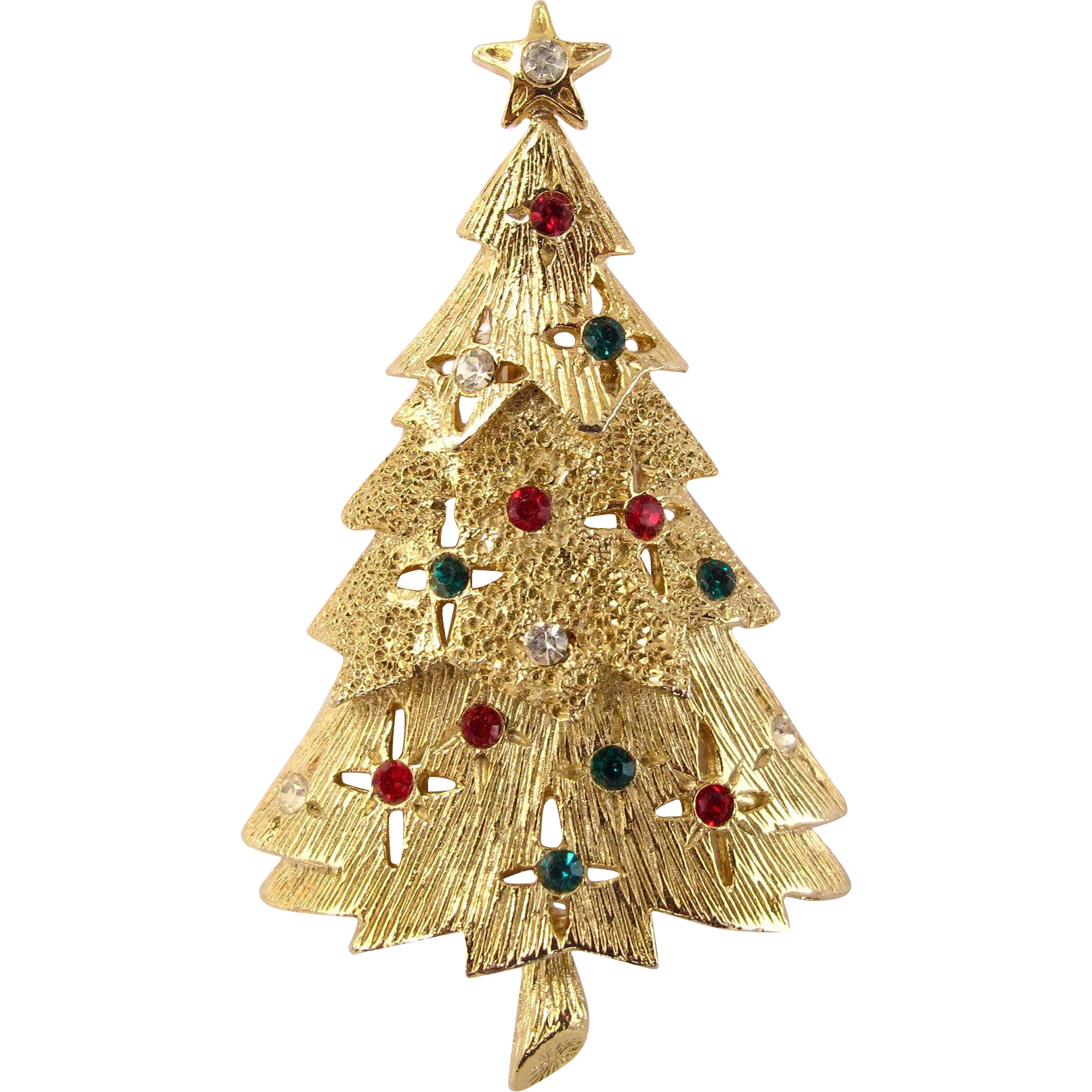 Tancer ii gold tone christmas tree pin from rubylane sold