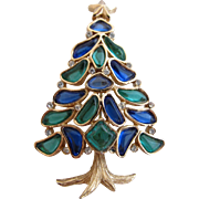 Crown Trifari Modern Mosaic Christmas Tree Pin - Book Piece