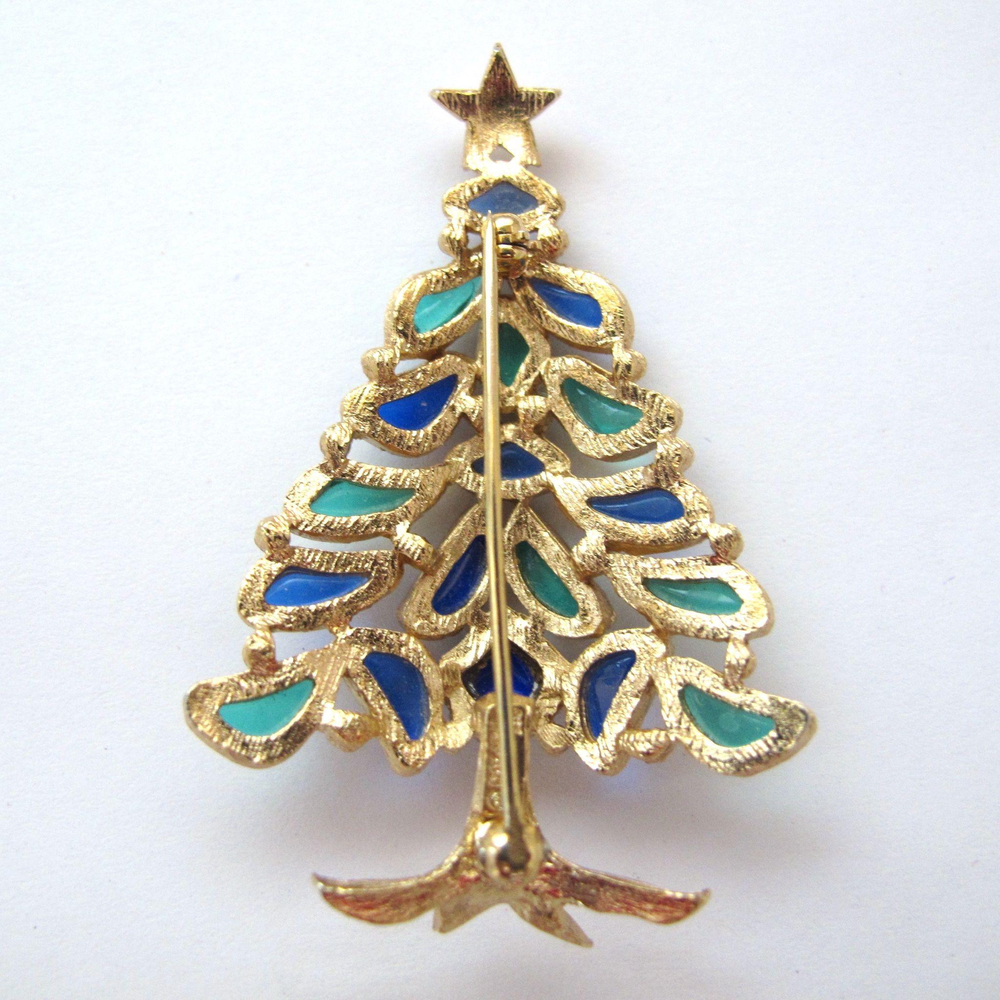 Sophisticated Christmas Tree: Crown Trifari Modern Mosaic Christmas Tree Pin