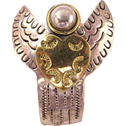 Vintage .925 Mexico Sterling Silver Angel Pin / Pendant