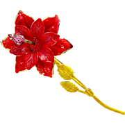 Vintage Original By Robert Enamel Poinsettia Flower Brooch