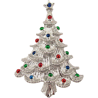 Gerry's Silver Tone Christmas Tree Pin