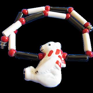 Vintage Flying Colors Ceramic Polar Bear Necklace