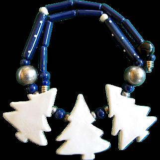 Vintage Ruby Z Ceramic Snowy Christmas Tree Necklace