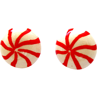 Vintage Ceramic Peppermint Candy Pierced Earrings