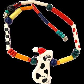 Vintage Ruby Z Ceramic Santa Cat Necklace by Candace Loheed -