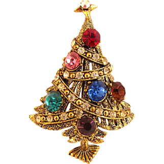 Vintage Hollycraft Garland Christmas Tree Pin - Book Piece
