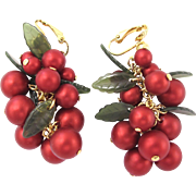 Vintage Holly Red Berry Dangle Clip Earrings