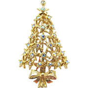 Vintage Signed Hobé Star Christmas Tree Pin