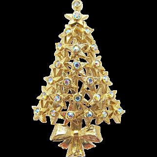Vintage Signed Hobé Star Christmas Tree Pin