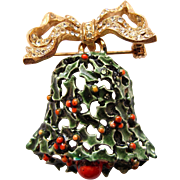 Vintage HAR Christmas Holiday Green Enamel Bell and Bow Brooch