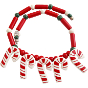 Vintage Flying Colors Candy Canes Ceramic Necklace