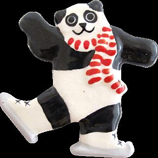 Vintage Ruby Z Ceramic Winter Panda Pin