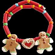 Vintage Flying Colors Gingerbread Men Ceramic Necklace