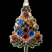 Vintage Eisenberg Green Rhinestone Christmas Holiday Pin