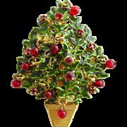 Vintage Original By Robert Green Enamel Christmas Tree Pin with Red Dangle Balls