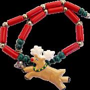 Vintage Flying Colors Ceramic Reindeer Pendant Necklace