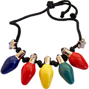 Vintage Flying Colors Ceramic Christmas Light Necklace