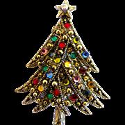 Vintage Hollycraft Ribbon Christmas Tree Pin