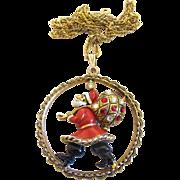 Vintage Hollycraft Rare Santa Claus Pendant Necklace